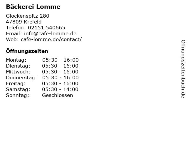 Bäckerei Lomme in Krefeld: Adresse und Öffnungszeiten
