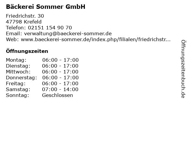 Bäckerei Sommer GmbH in Krefeld: Adresse und Öffnungszeiten