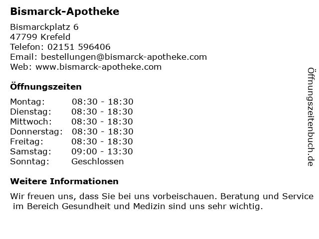 Bismarck-Apotheke in Krefeld: Adresse und Öffnungszeiten
