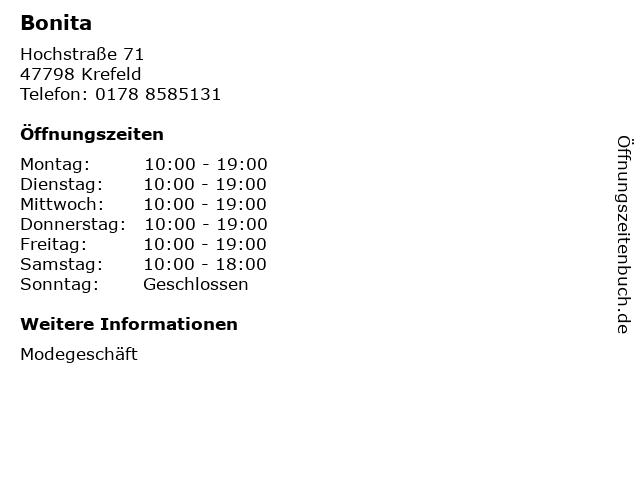 Bonita in Krefeld: Adresse und Öffnungszeiten