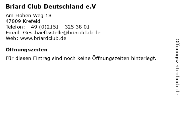 Briard Club Deutschland e.V in Krefeld: Adresse und Öffnungszeiten