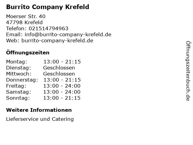 Burrito Company Krefeld in Krefeld: Adresse und Öffnungszeiten