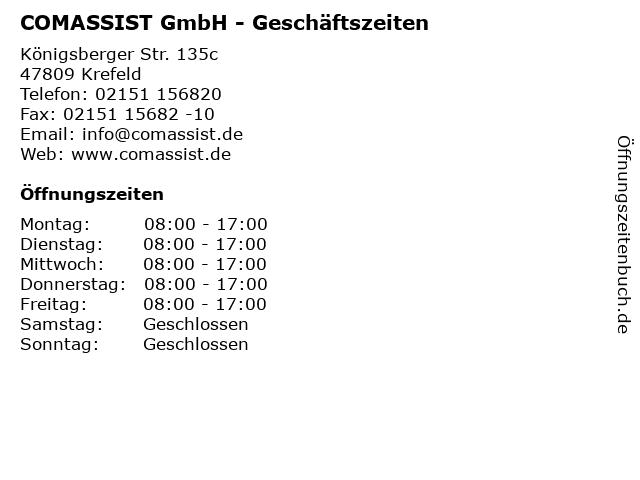 COMASSIST GmbH - Geschäftszeiten in Krefeld: Adresse und Öffnungszeiten