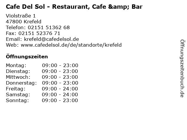 Cafe Del Sol in Krefeld: Adresse und Öffnungszeiten