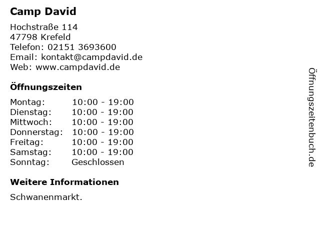 Camp David in Krefeld: Adresse und Öffnungszeiten
