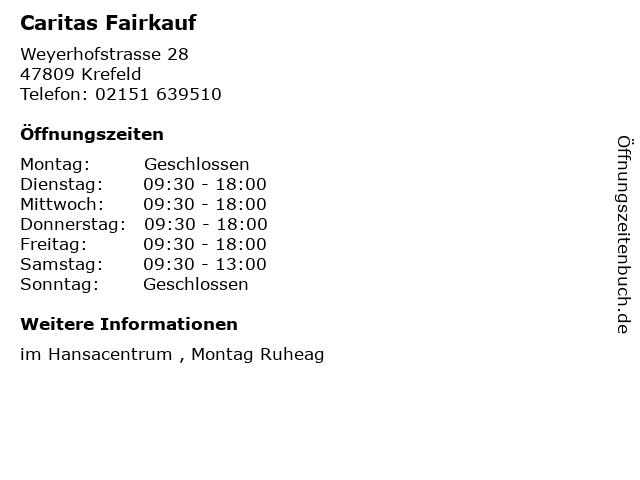 ᐅ öffnungszeiten Caritas Fairkauf Weyerhofstrasse 28 In Krefeld
