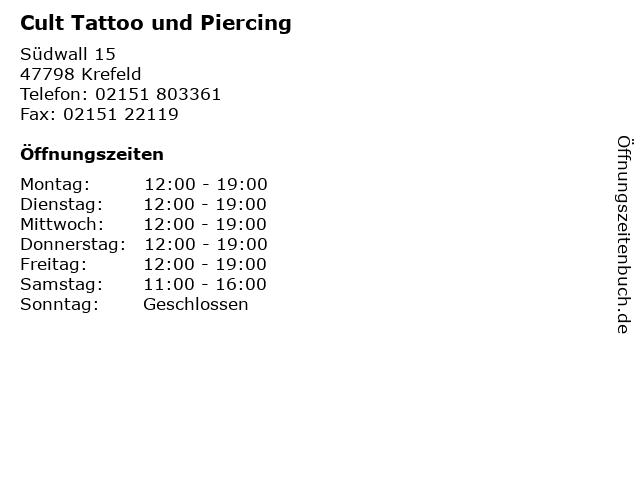 Cult Tattoo und Piercing in Krefeld: Adresse und Öffnungszeiten