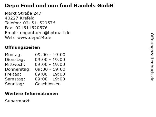 ᐅ öffnungszeiten Depo Food Und Non Food Handels Gmbh Markt