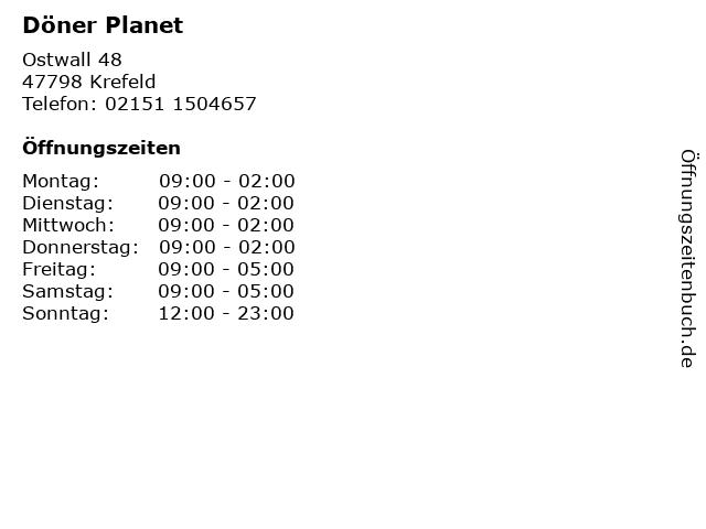 Döner Planet in Krefeld: Adresse und Öffnungszeiten