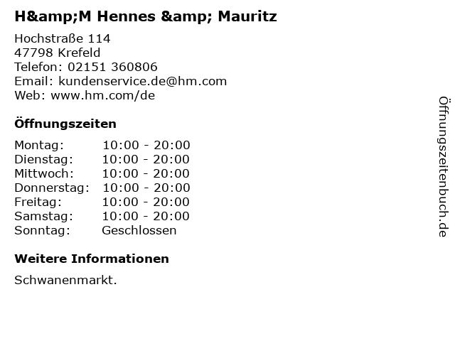 H&M Hennes & Mauritz in Krefeld: Adresse und Öffnungszeiten