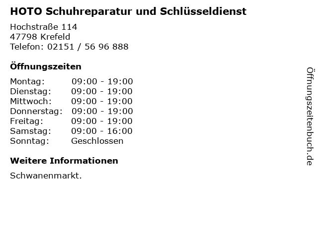 HOTO Schuhreparatur und Schlüsseldienst in Krefeld: Adresse und Öffnungszeiten