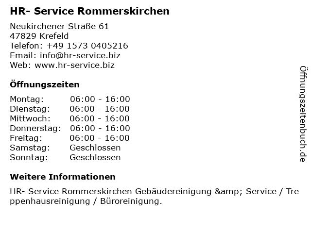 HR- Service Rommerskirchen in Krefeld: Adresse und Öffnungszeiten