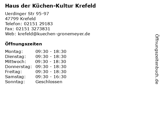 Haus der Küchen-Kultur Krefeld in Krefeld: Adresse und Öffnungszeiten
