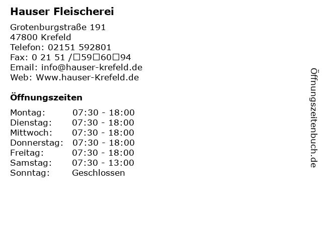 ᐅ Offnungszeiten Hauser Fleischerei Grotenburgstrasse 191 In Krefeld