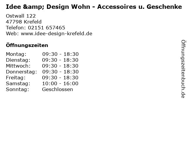 Idee & Design Wohn - Accessoires u. Geschenke in Krefeld: Adresse und Öffnungszeiten