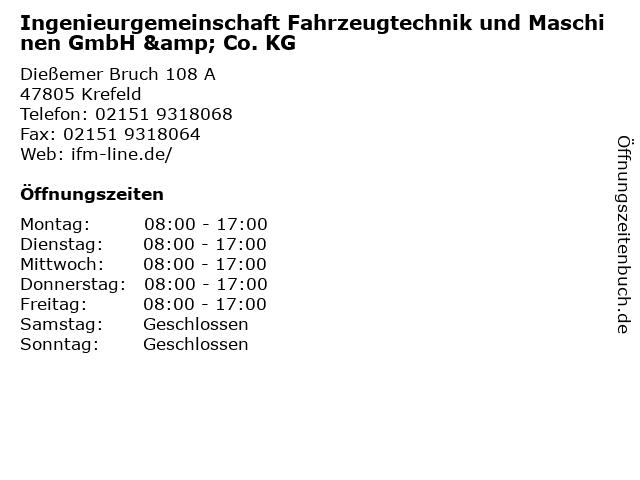 Ingenieurgemeinschaft Fahrzeugtechnik und Maschinen GmbH & Co. KG in Krefeld: Adresse und Öffnungszeiten