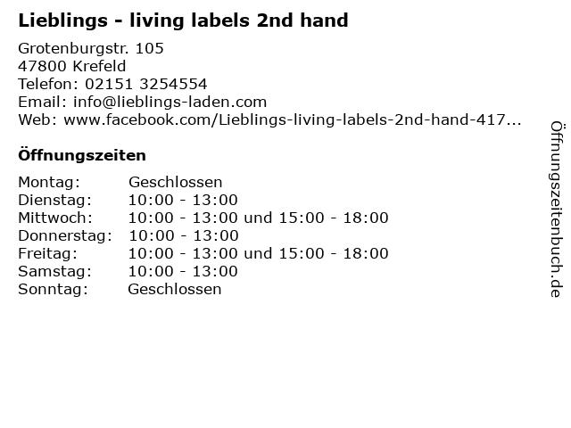 Lieblings - living labels 2nd hand in Krefeld: Adresse und Öffnungszeiten