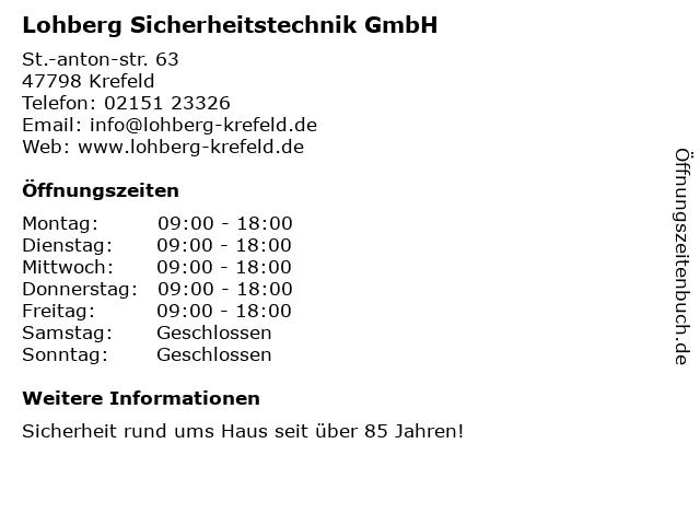 Lohberg Sicherheitstechnik GmbH in Krefeld: Adresse und Öffnungszeiten