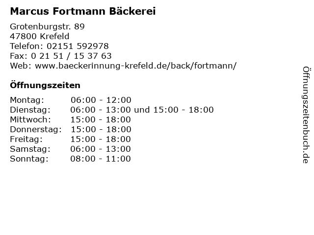 Marcus Fortmann Bäckerei in Krefeld: Adresse und Öffnungszeiten