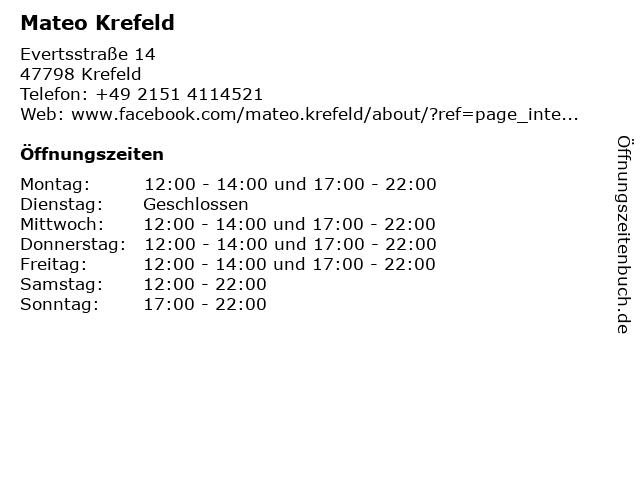 Mateo Krefeld in Krefeld: Adresse und Öffnungszeiten