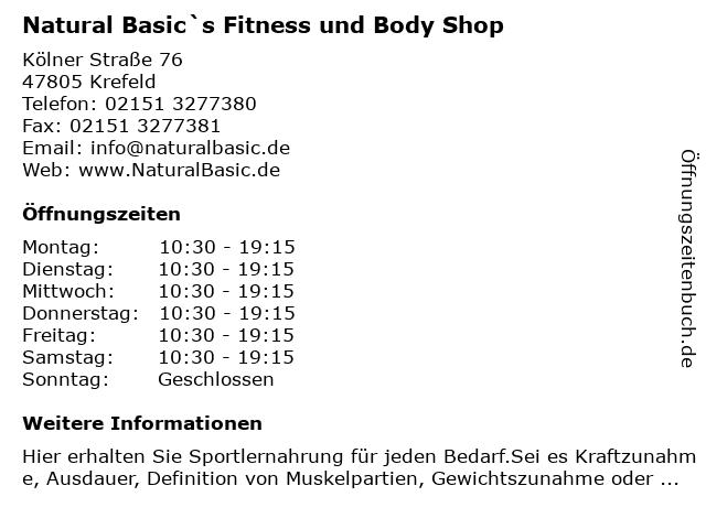 Natural Basic`s Fitness und Body Shop in Krefeld: Adresse und Öffnungszeiten