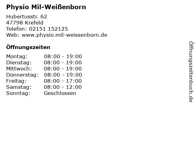 Physio Mil-Weißenborn in Krefeld: Adresse und Öffnungszeiten