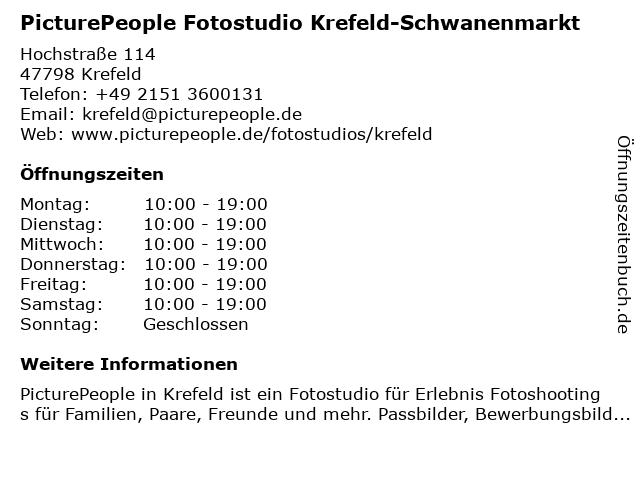 PicturePeople Fotostudio Krefeld-Schwanenmarkt in Krefeld: Adresse und Öffnungszeiten