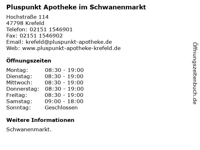 Pluspunkt Apotheke im Schwanenmarkt in Krefeld: Adresse und Öffnungszeiten