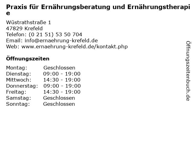 Praxis für Ernährungsberatung und Ernährungstherapie in Krefeld: Adresse und Öffnungszeiten