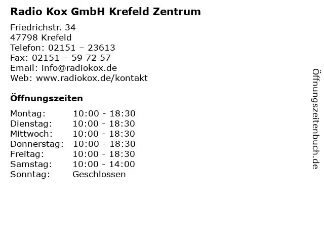 Radio Kox GmbH Krefeld Zentrum in Krefeld: Adresse und Öffnungszeiten