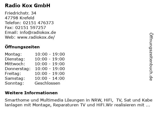 Radio Kox GmbH in Krefeld: Adresse und Öffnungszeiten