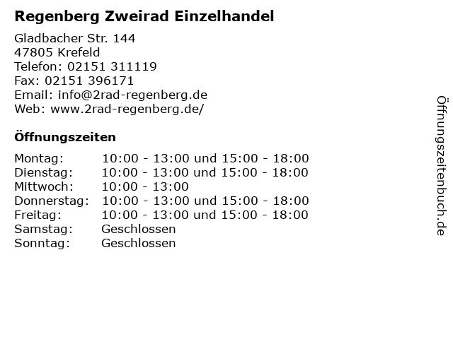 Regenberg Zweirad Einzelhandel in Krefeld: Adresse und Öffnungszeiten