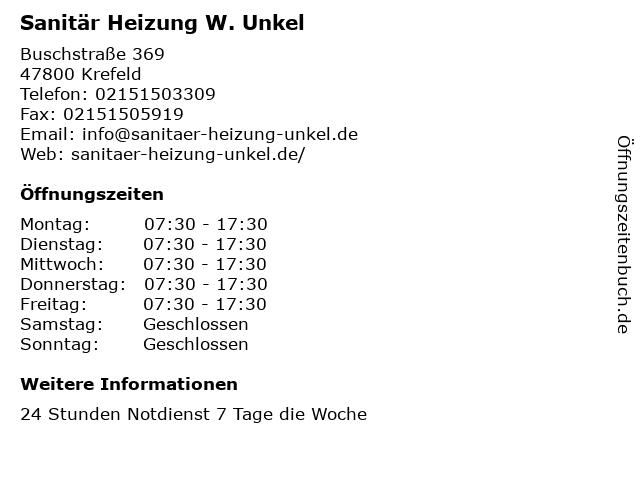 Sanitär Heizung W. Unkel in Krefeld: Adresse und Öffnungszeiten