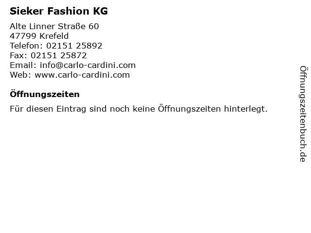 Sieker Fashion KG in Krefeld: Adresse und Öffnungszeiten
