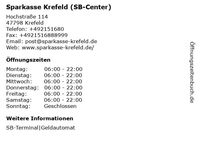 Sparkasse Krefeld (SB-Filiale Schwanenmarktl) in Krefeld: Adresse und Öffnungszeiten