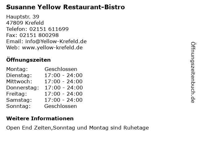 Susanne Yellow Restaurant-Bistro in Krefeld: Adresse und Öffnungszeiten