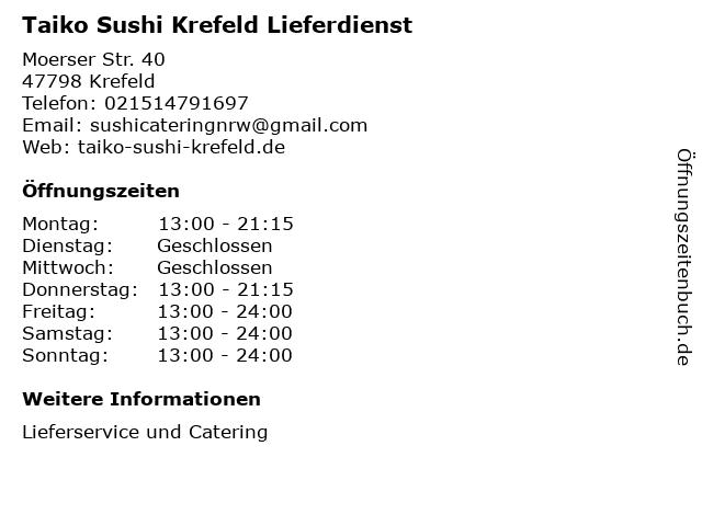 Taiko Sushi Krefeld Lieferdienst in Krefeld: Adresse und Öffnungszeiten