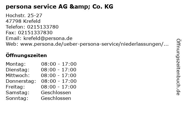 persona service AG & Co. KG in Krefeld: Adresse und Öffnungszeiten