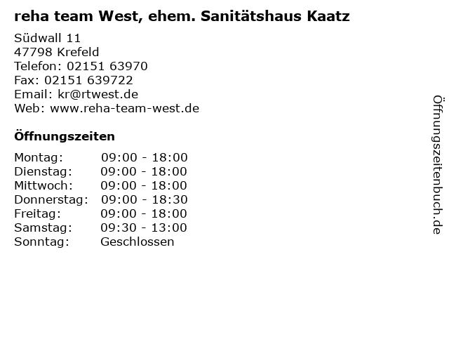 reha team West, ehem. Sanitätshaus Kaatz in Krefeld: Adresse und Öffnungszeiten