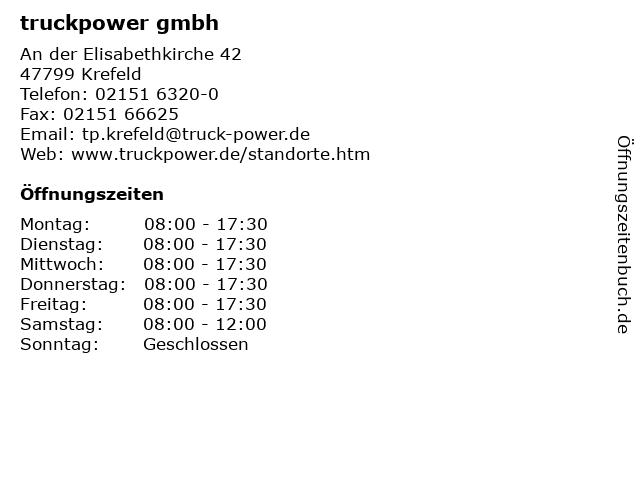 truckpower gmbh in Krefeld: Adresse und Öffnungszeiten
