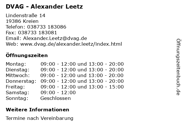 DVAG - Alexander Leetz in Kreien: Adresse und Öffnungszeiten