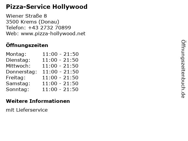 Pizza-Service Hollywood in Krems (Donau): Adresse und Öffnungszeiten