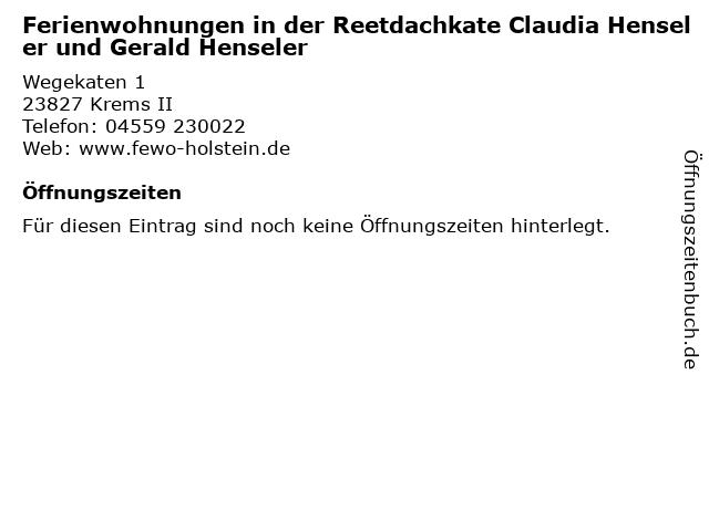 Ferienwohnungen in der Reetdachkate Claudia Henseler und Gerald Henseler in Krems II: Adresse und Öffnungszeiten