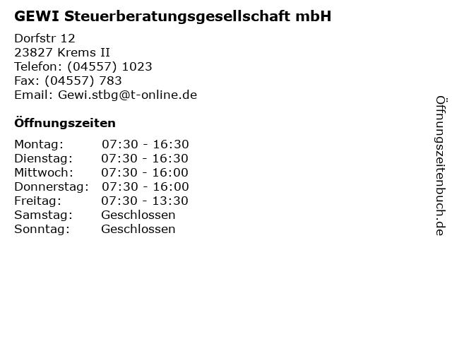 GEWI Steuerberatungsgesellschaft mbH in Krems II: Adresse und Öffnungszeiten