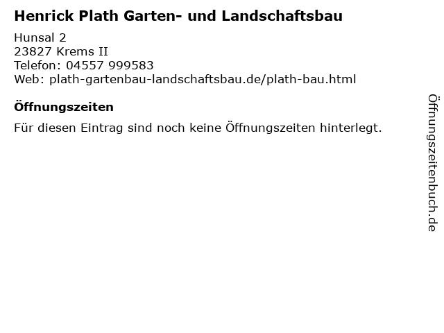 Henrick Plath Garten- und Landschaftsbau in Krems II: Adresse und Öffnungszeiten