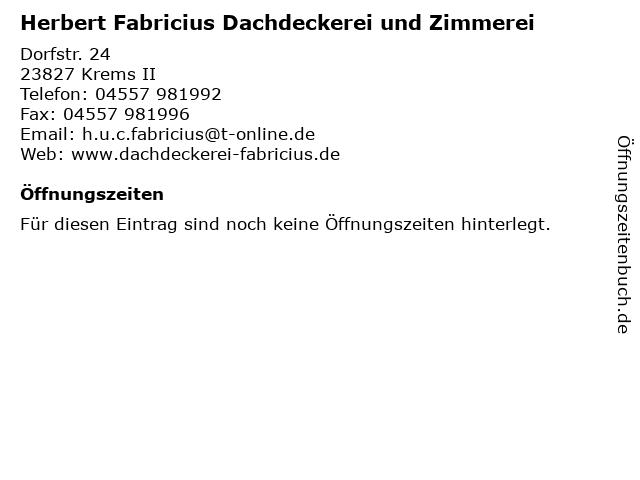 Herbert Fabricius Dachdeckerei und Zimmerei in Krems II: Adresse und Öffnungszeiten