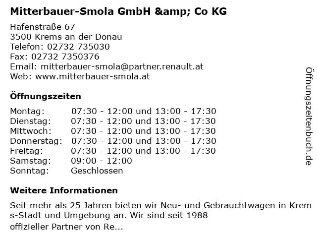 Mitterbauer-Smola GmbH & Co KG in Krems an der Donau: Adresse und Öffnungszeiten