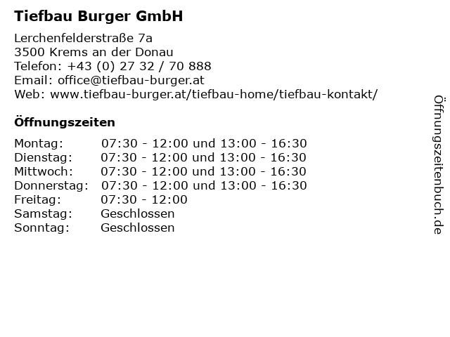 Tiefbau Burger GmbH in Krems an der Donau: Adresse und Öffnungszeiten