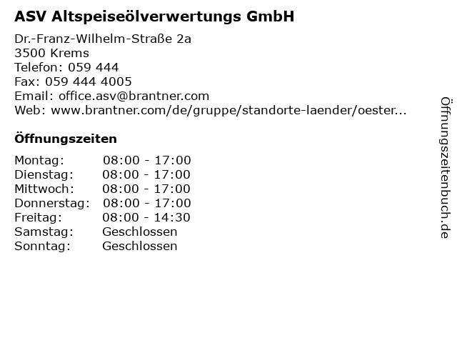ASV Altspeiseölverwertungs GmbH in Krems: Adresse und Öffnungszeiten