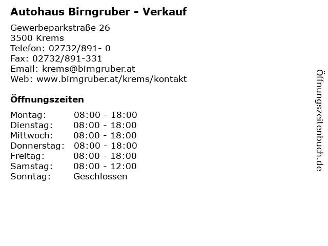 Autohaus Birngruber - Verkauf in Krems: Adresse und Öffnungszeiten